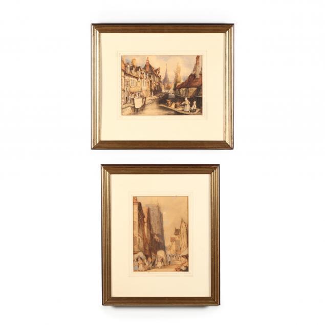 two-antique-dutch-village-scenes