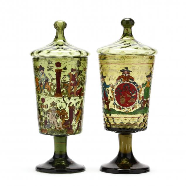 pair-of-antique-german-enameled-and-lidded-glass-urns