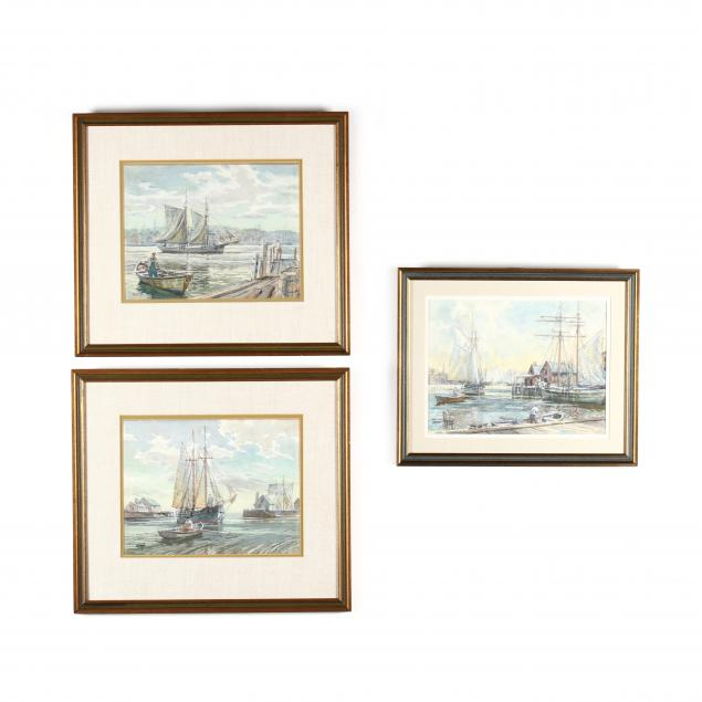 w-stuart-archibald-la-20th-century-three-harbor-scenes