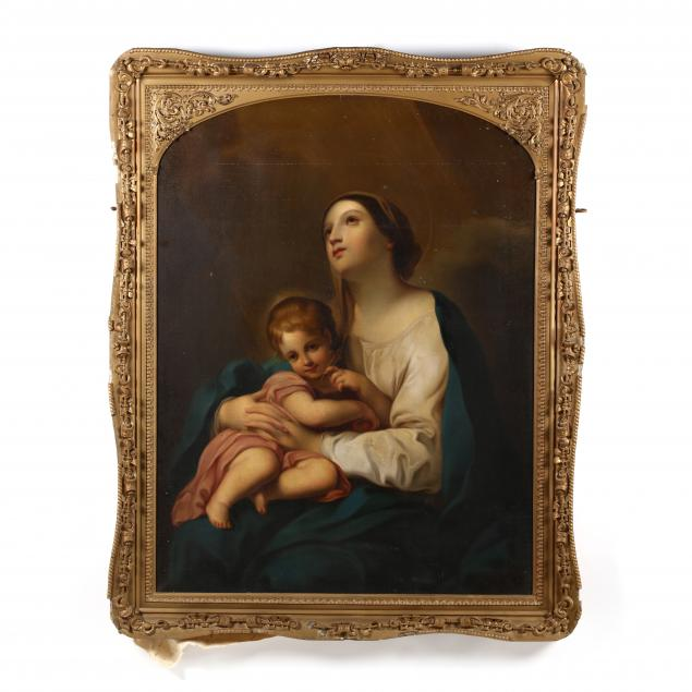 a-large-antique-painting-of-the-sainted-madonna-with-christ-child