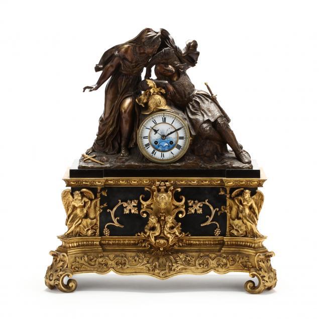 a-napoleon-iii-bronze-black-marble-figural-mantel-clock