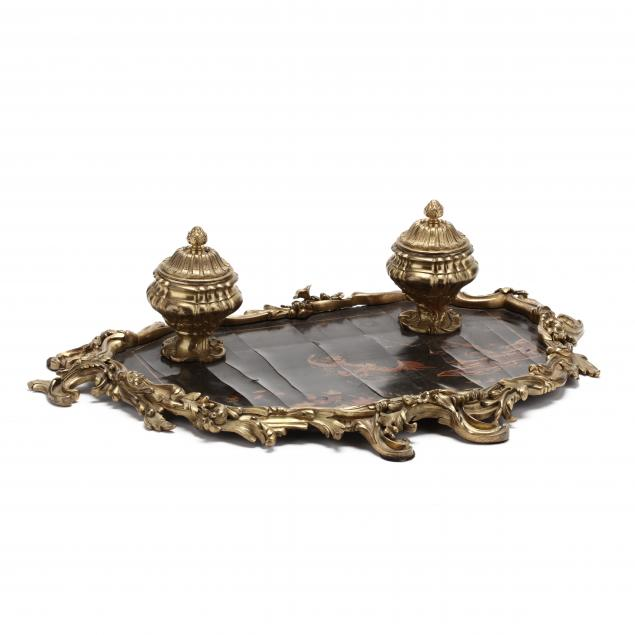 an-antique-gilt-bronze-and-japanned-inkstand