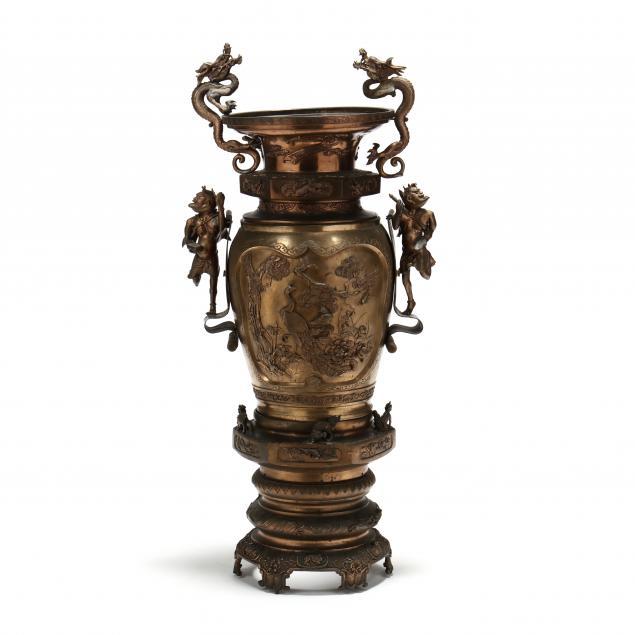 a-large-meiji-period-japanese-bronze-figural-floor-urn