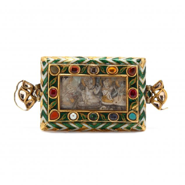 an-antique-gold-and-enameled-gem-set-buckle-with-miniature-painting