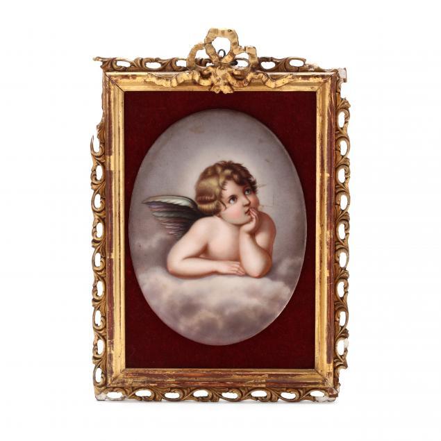 framed-porcelain-plaque-of-a-cherub