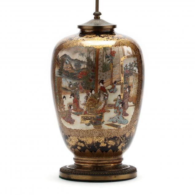 a-large-japanese-satsuma-vase-lamp