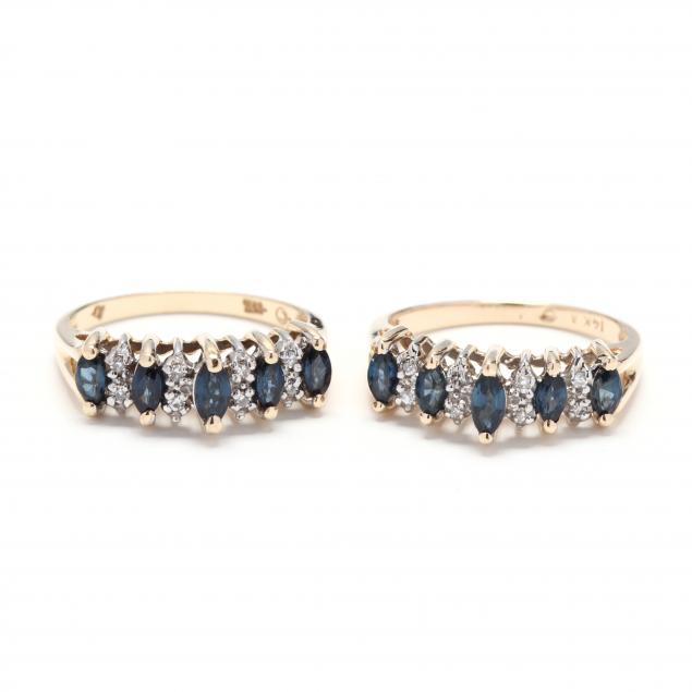 pair-of-14kt-gold-sapphire-and-diamond-rings