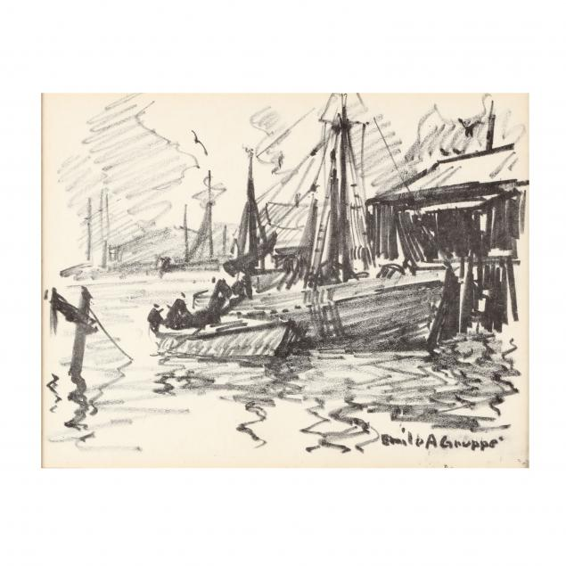 emile-gruppe-ma-1896-1978-harbor-sketch