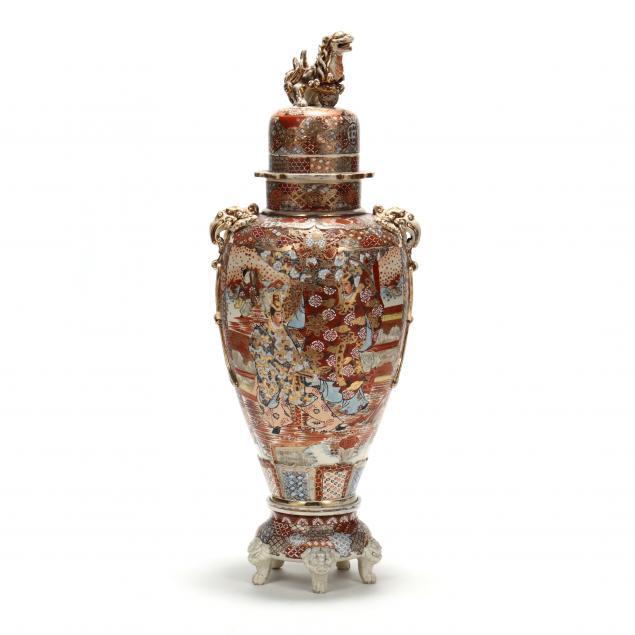 a-large-japanese-satsuma-lidded-floor-urn