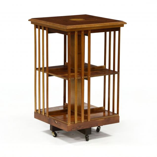 continental-inlaid-fruitwood-rotating-bookcase