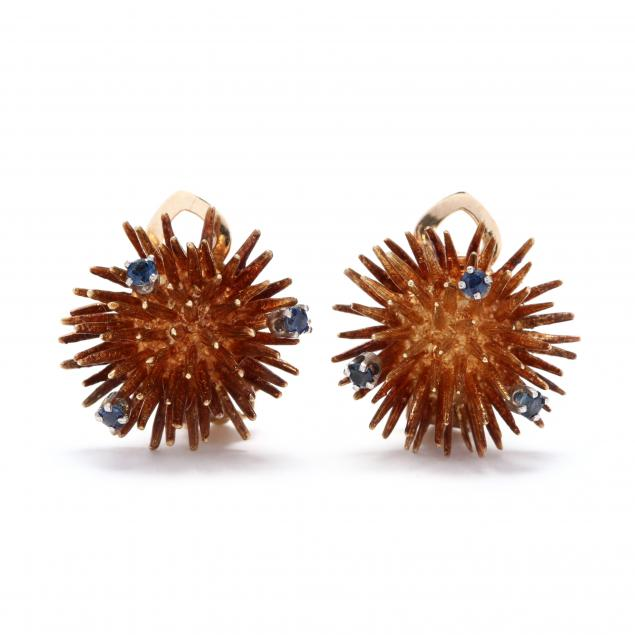 14kt-gold-and-sapphire-sea-urchin-earrings