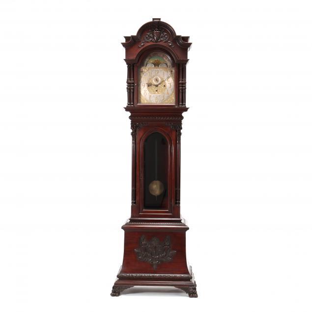 elite-empire-revival-carved-mahogany-tall-case-clock