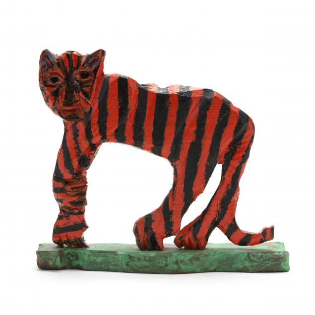 elijah-pierce-american-1892-1984-folk-art-carving-of-a-standing-tiger