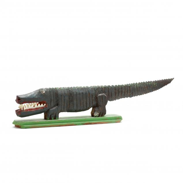 elijah-pierce-american-1892-1984-folk-art-carved-alligator