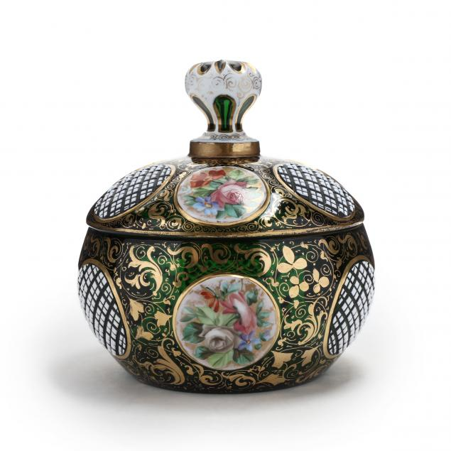 moser-emerald-green-and-painted-cabochon-lidded-sweet-meat-dish