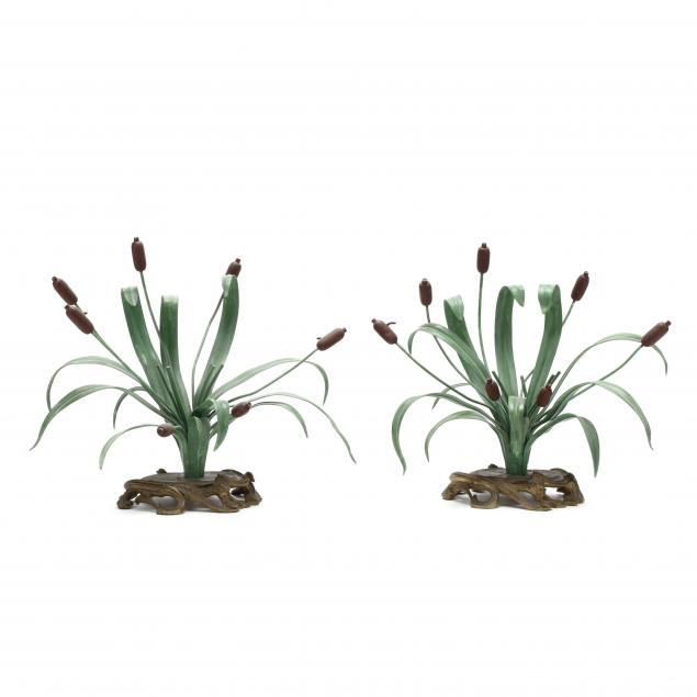 pair-of-vintage-french-tole-cattail-ornaments