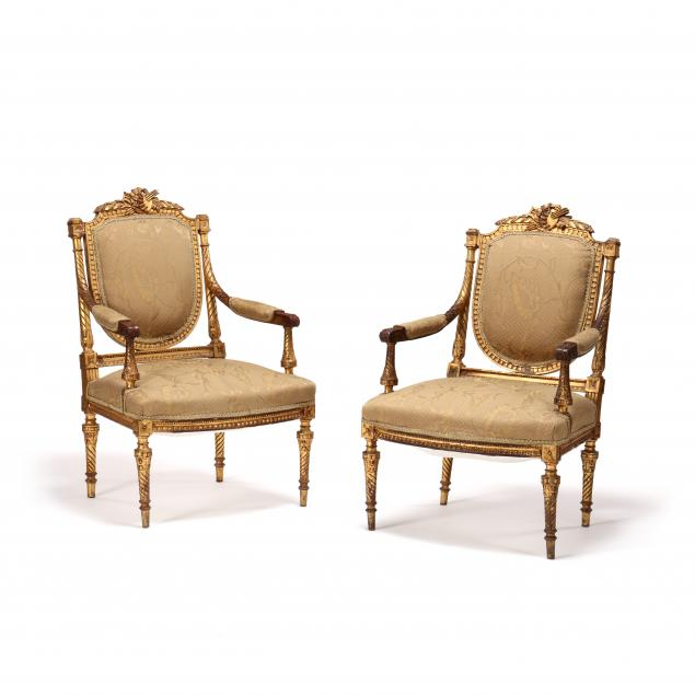 pair-of-antique-louis-xvi-style-gilt-and-carved-fauteuil