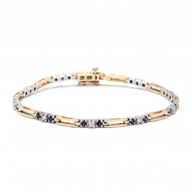 14kt-bi-color-gold-diamond-and-sapphire-bracelet