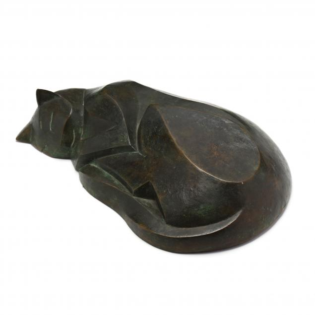 terry-stringer-new-zealand-b-1946-art-deco-style-bronze-sleeping-cat