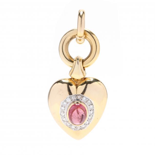 gold-pink-tourmaline-and-diamond-pendant