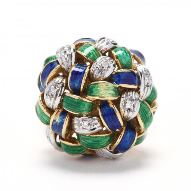 18kt-bi-color-gold-polychrome-enamel-and-diamond-ring
