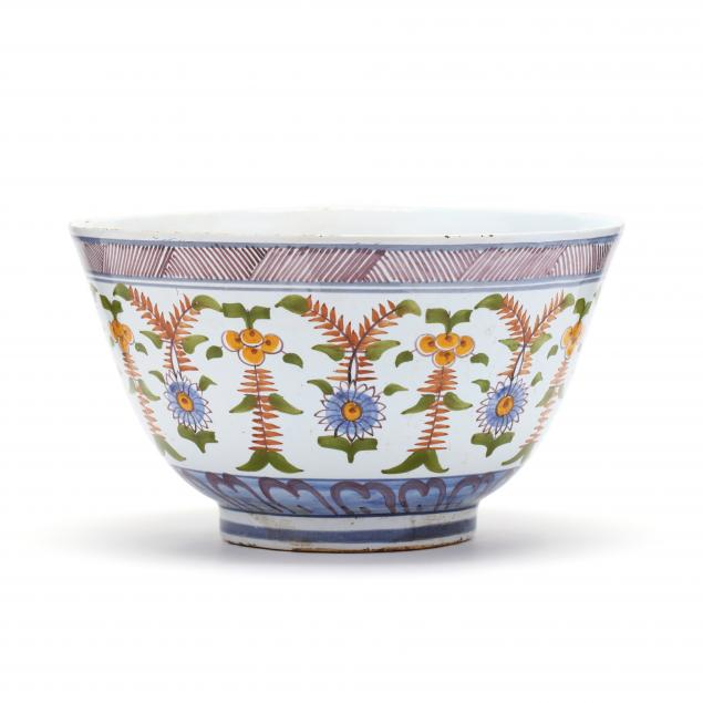 a-signed-delft-polychrome-punch-bowl