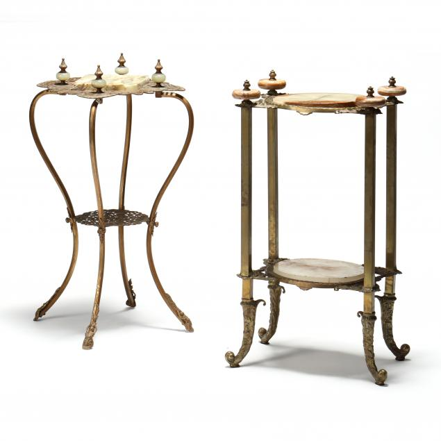 two-vintage-gilt-brass-and-onyx-stands