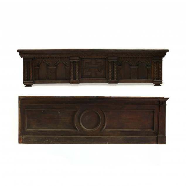two-large-carved-walnut-architectural-panels