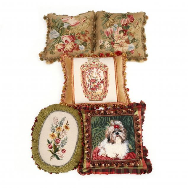 five-aubusson-and-needlepoint-decorative-pillows