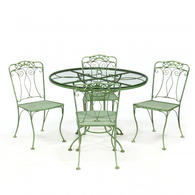 vintage-painted-iron-table-and-four-chairs