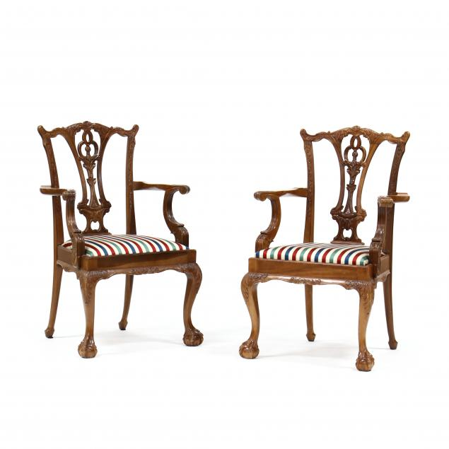 pair-of-chippendale-style-carved-mahogany-armchairs