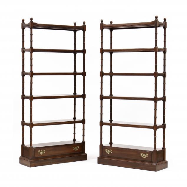 ethan-allen-pair-of-cherry-faux-bamboo-bookshelves