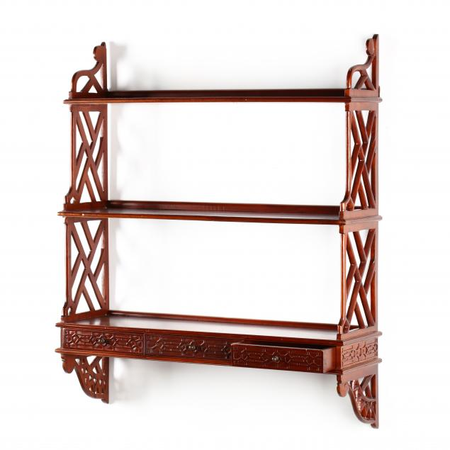 chinese-chippendale-style-mahogany-wall-shelf
