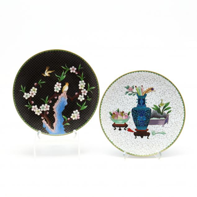 two-chinese-cloisonne-plates