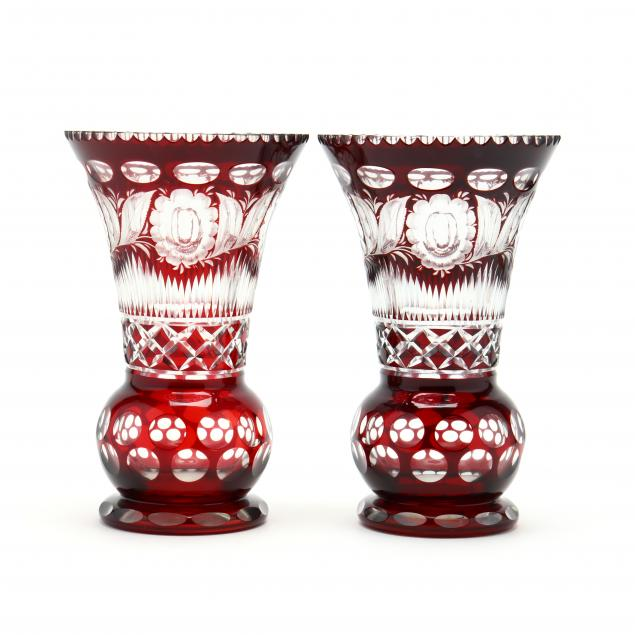 fine-pair-of-bohemain-cut-to-clear-glass-vases