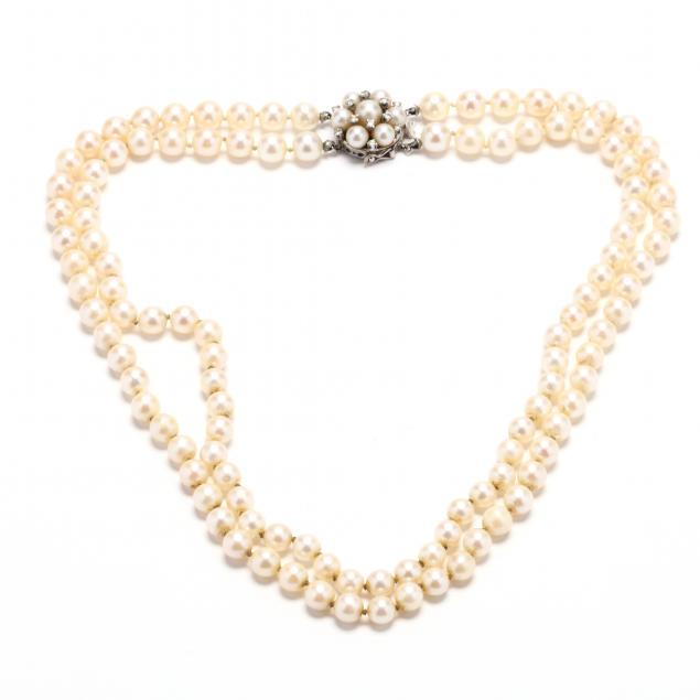 double-strand-pearl-necklace-with-a-14kt-white-gold-diamond-and-pearl-clasp