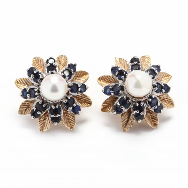 14kt-bi-color-gold-pearl-and-sapphire-earrings