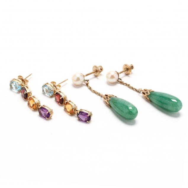 two-pairs-of-14kt-gold-and-gem-set-earrings