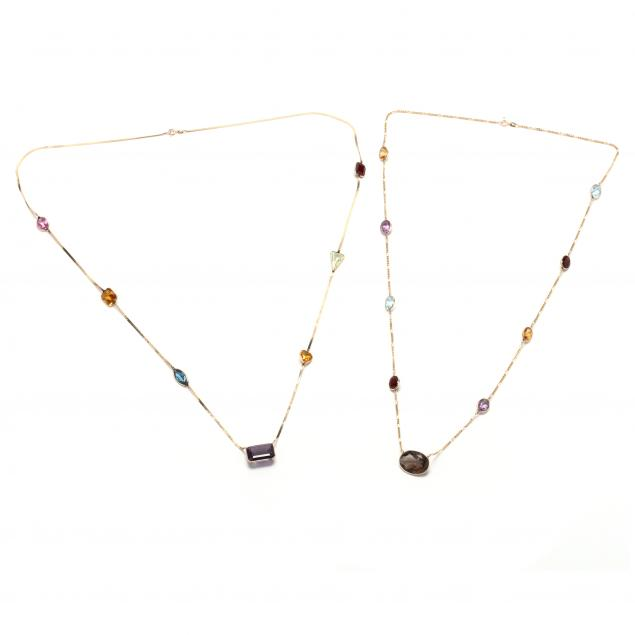 two-14kt-gold-and-gem-set-necklaces