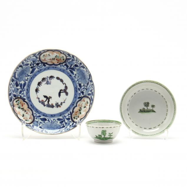 a-japanese-imari-plate-and-chinese-export-teacup-and-saucer