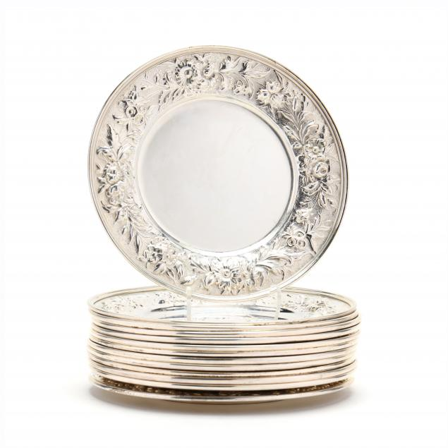 set-of-13-kirk-stieff-repousse-sterling-silver-bread-plates
