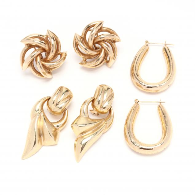 three-pairs-of-14kt-gold-earrings