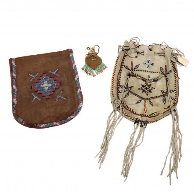 three-early-navajo-beadwork-bags