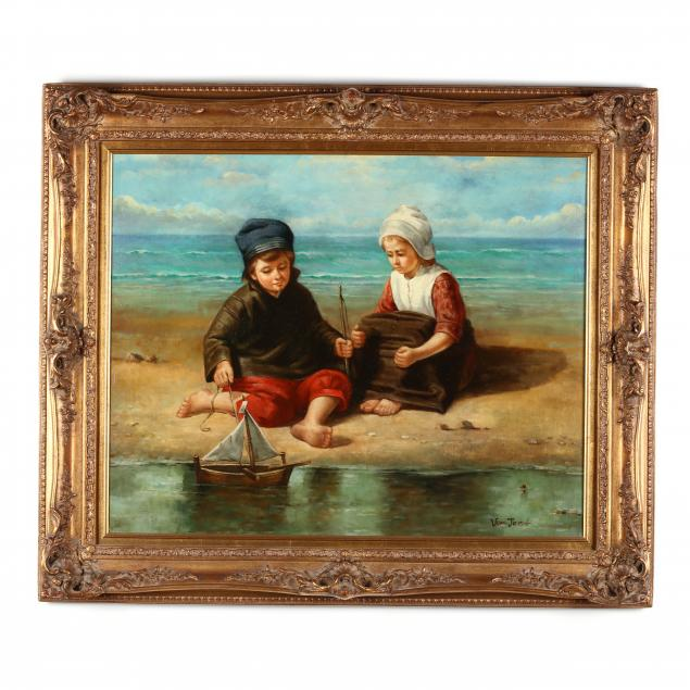 a-contemporary-dutch-school-painting-of-two-children-by-the-shore