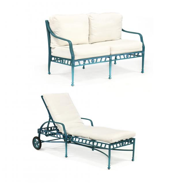 winston-furniture-painted-aluminum-garden-bench-and-chaise