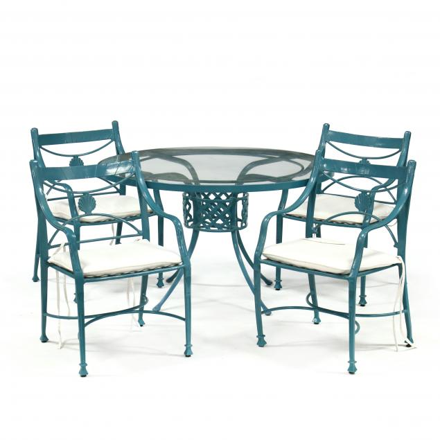 winston-furniture-painted-aluminum-table-and-four-armchairs