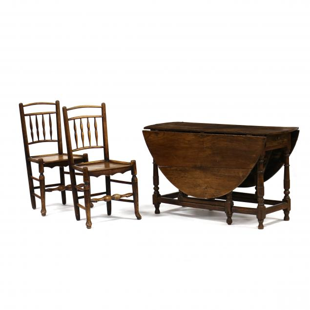 william-and-mary-drop-leaf-elm-table-and-two-chairs