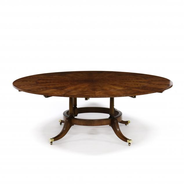 e-j-victor-regency-style-inlaid-mahogany-pedestal-dining-table