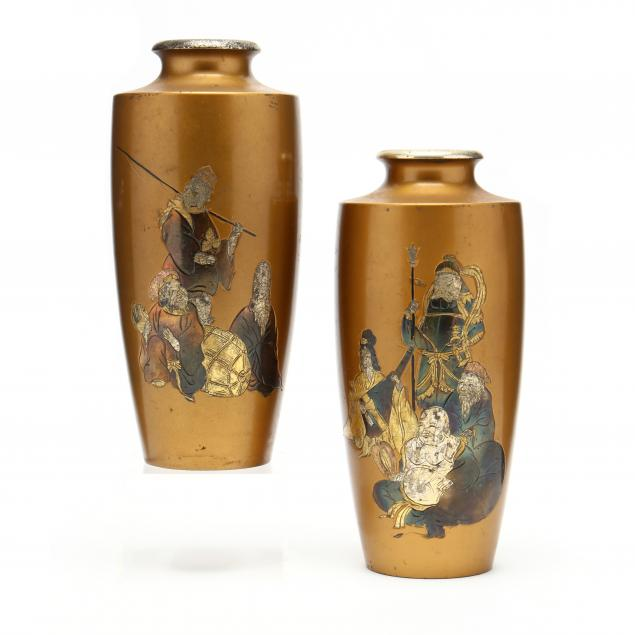 a-pair-of-japanese-cloisonne-vases-with-seven-lucky-gods