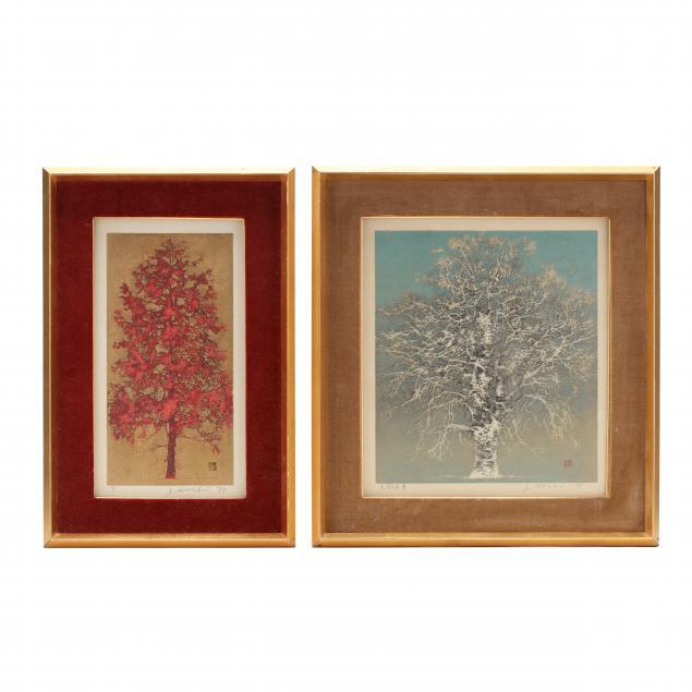 joichi-hoshi-japanese-1913-1979-two-woodblock-prints